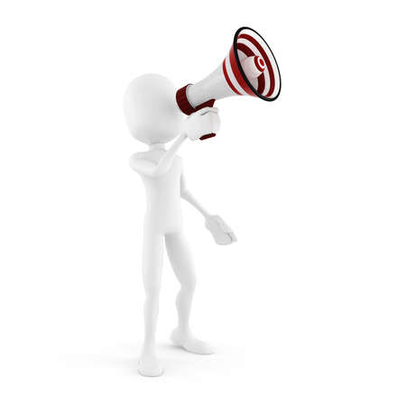 shouting: 3d man with a big megaphone isolated in white Stock Photo