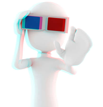 3d man with 3d glasses - Anaglyph Red-Cyan image, so put your 3d glasses ON ! :) photo