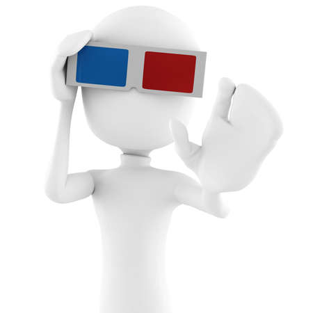 3d man with 3d glasses photo