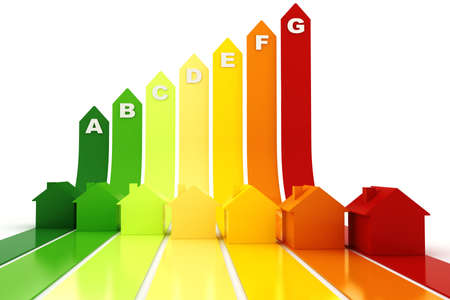 eficiencia energetica: 3D, concepto de eficiencia de energía, sobre fondo blanco
