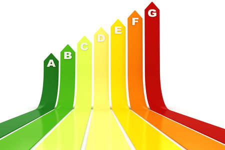 classify: 3d energy rating graph, on white background