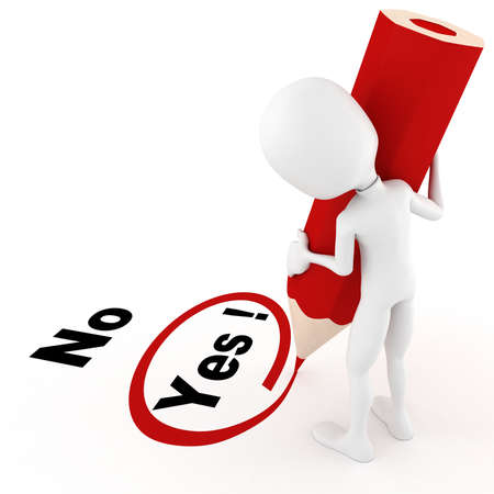 3d man chooseing between yes and no Stock Photo - 8489924