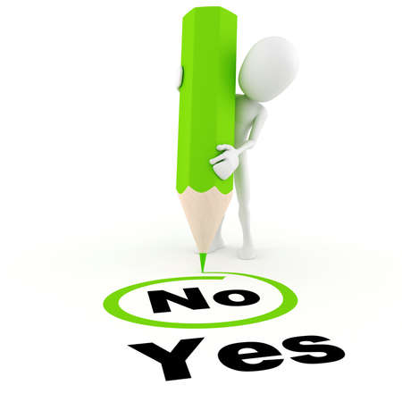 3d man chooseing between yes and no Stock Photo - 8489891