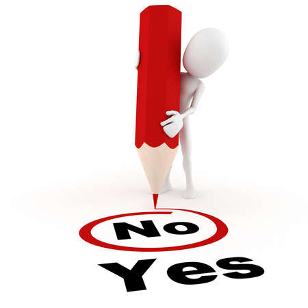 yes or no: 3d man chooseing between yes and no Stock Photo