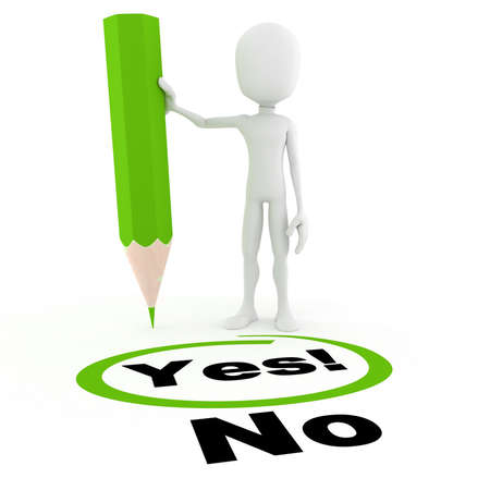 3d man chooseing between yes and no Stock Photo - 8489897
