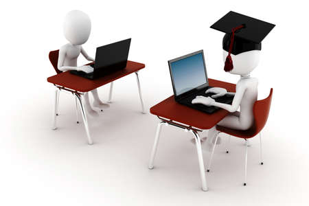 3d man e-learningm isolated on white background Stock Photo - 8513471
