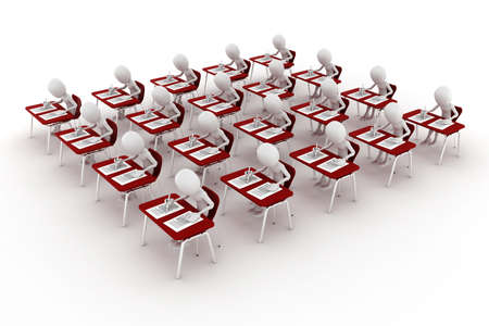 3d man in classroom, exam test photo