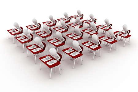 quiz test: 3d man in classroom, exam test