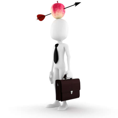 3d man - business man  with an apple on hes head photo