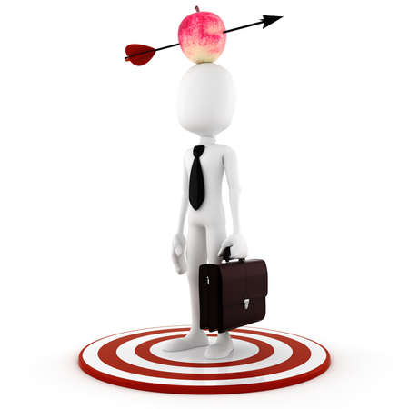 hes: 3d man - business man  with an apple on hes head Stock Photo