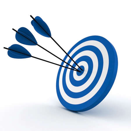 target business: 3d target and arrows, isolated on white
