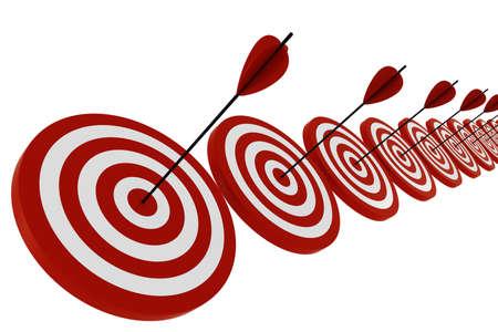 shooting target: 3D-target en pijlen, geïsoleerd op wit