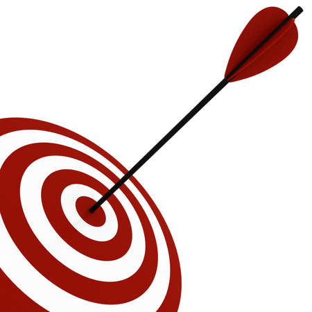 shooting goal: 3d target and arrows, isolated on white