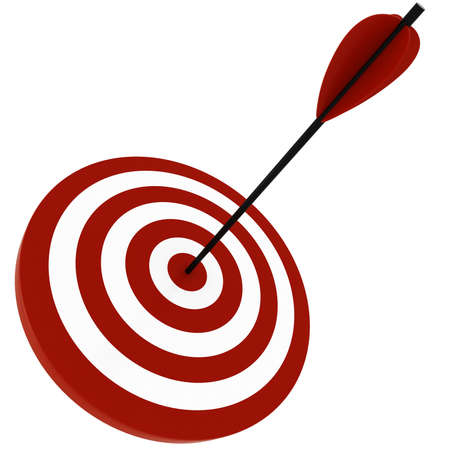 aim: 3d target and arrows, isolated on white