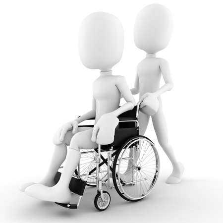 handicap: 3d man in a wheelchair, isolated on white background