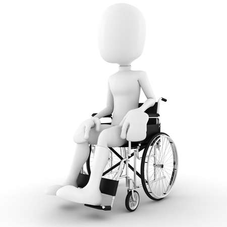 3d man in a wheelchair, isolated on white background photo