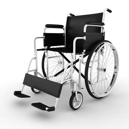 medicine wheel: 3d wheelchair, isolated on white background Stock Photo