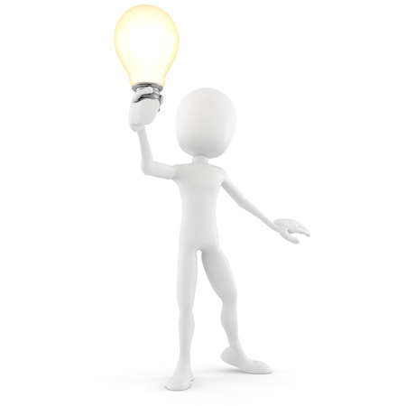 3d man holding a light bulb, isolated on white Stock Photo - 8557794