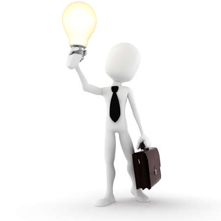 body image: 3d man holding a light bulb, isolated on white
