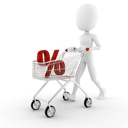 3d man pusing a shopping cart Stock Photo - 8557817