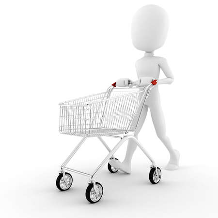 supermarket trolley: 3d man pusing a shopping cart Stock Photo