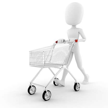 trolley: 3d man pusing a shopping cart Stock Photo