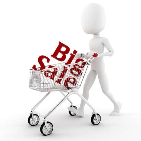 3d man pusing a shopping cart Stock Photo - 8557821