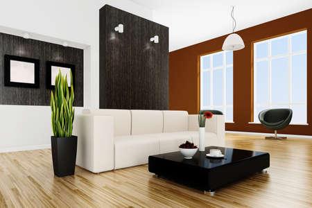 3d interior design lit by warm daylight