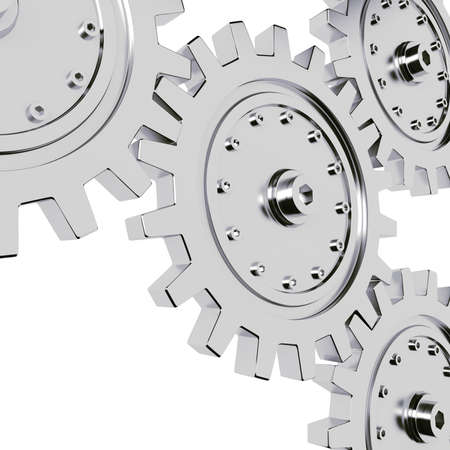 3d metal gear wheel render, on white background Stock Photo - 8634349