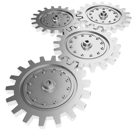 3d metal gear wheel render, on white background Stock Photo - 8634350