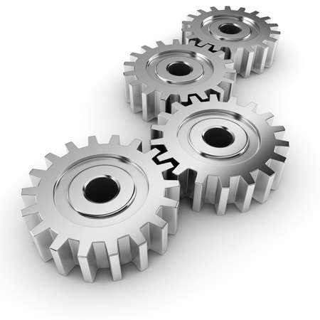3d metal gear wheel render, on white background Stock Photo - 8634352