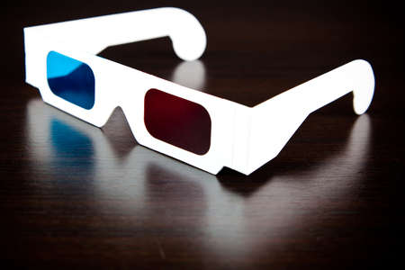 glassed: white paper glasses , red and blue