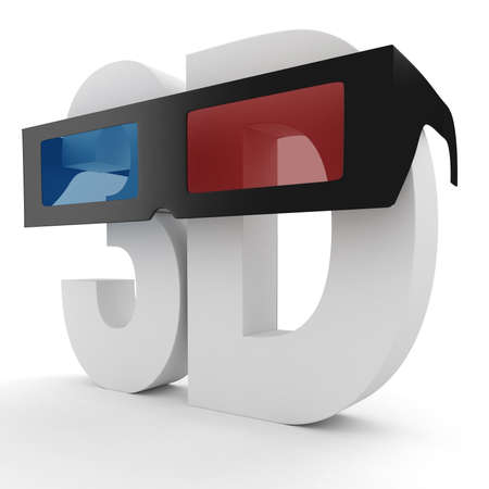 stereoscope: 3d sign, red cyan, isolated on white