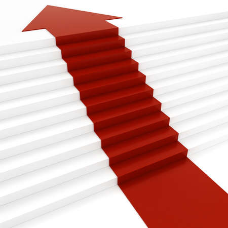 3d red arrow on white stair photo