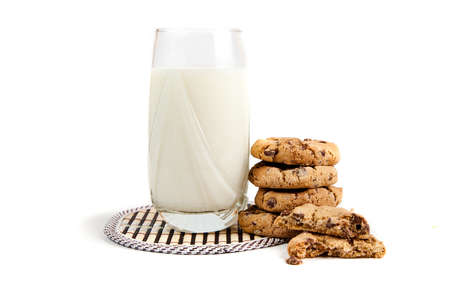 milk and cookies, on white background photo