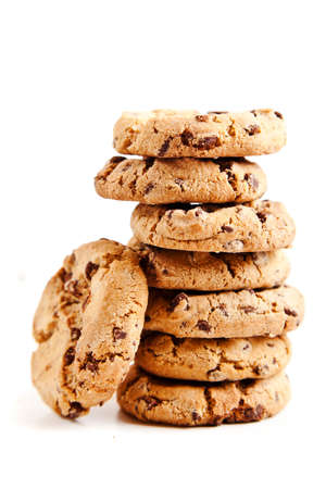 chocolate chips cookies, on white background photo