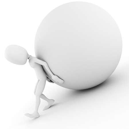 3d man pushing a ball up hill photo