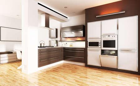 3d modern kitchen - interior render photo