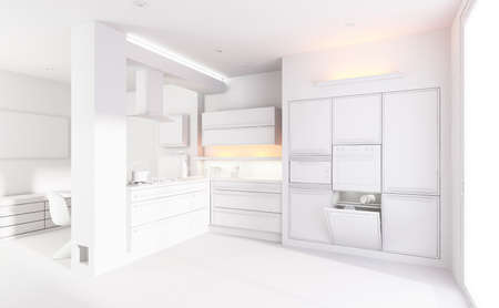 3d clay render of a modern kitchen interior design photo