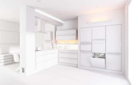 3d clay render of a modern kitchen interior design photo