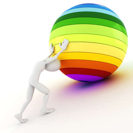 3d man pushing a colorful ball up hill photo