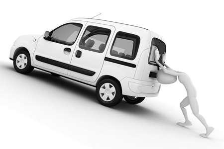 car trouble: 3d man pushing a broken car Stock Photo