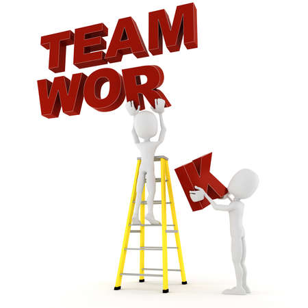 work together: 3d man team work Stock Photo