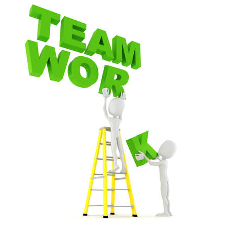 work together: 3D man team werk Stockfoto