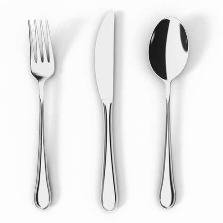 cuchara y tenedor: Cuchillo de tenedor y cuchara aisladas sobre fondo blanco