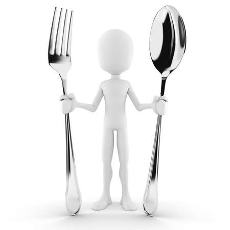 eating utensil: 3d man holding a spoon and a fork Stock Photo