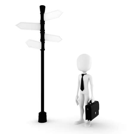 3d man looking for the right path to success Stock Photo - 9029098
