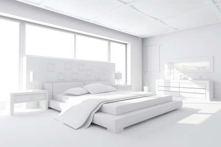 bedroom interior: 3d clay render of a modern bedroom