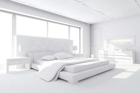 headboard: 3d clay render of a modern bedroom