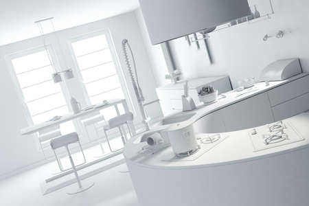 3d clay rander of a modern kitchen Stock Photo - 9029156